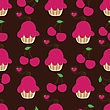 Cupcake Retro Seamless Pattern With Cute Cake And Heart Cherry. Vector Illustration For Design Of Gift Packs, Wrap, Patterns Fabric, Wallpaper, Web Sites And Other