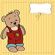 Customizable Childish Card With Funny Teddy Bear stock illustration
