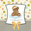 Customizable Greeting Card With Teddy Bear stock illustration