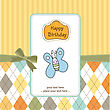 Cute Baby Shower Card With Butterfly, Vector Illustration
