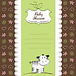 Cute Baby Shower Card With Zebra, Vector Illustration