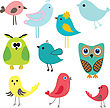 Cute Birds Set. Vintage Vector Illustration stock illustration