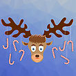 Cute Cartoon Deer With Candy Canes On The Horns On Winter Blue Ice Background. Polygonal Pattern. Symbols Of Christmas
