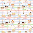 Cute Dancing Ballerina Girls In Blue, Green And Pink Dresses On Striped Background. Seamless Pattern For Baby And Child Wallpapers, Textile, Posters And Clothing Prints.Girlfriends In Ballet Dresses