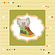 Cute Greeting Card With An Elephant Hidden In A Shoe