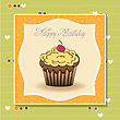 Cute Happy Birthday Card With Cupcake. Vector Illustration stock illustration