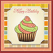 Cute Happy Birthday Card With Cupcake. Vector Illustration stock vector