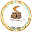 Cute Kitty Wishes You A Nice Day stock illustration