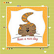 Laughing Cute Kitty Wishes You A Nice Day stock illustration