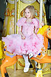 Magnificent Cute Little Blond Girl In Pink Dress Posing On A Carousel Pony stock photo