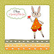 Cute Little Doe Who Gives Her Heart. Romantic And Funny Love Greeting Card stock illustration
