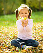 Outing Cute Little Girl In Autumn Park Holding Bunch Of Yellow Leaves stock photography