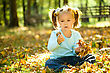 Outing Cute Little Girl In Autumn Park Holding Bunch Of Yellow Leaves stock photo