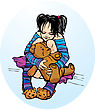 Cute Little Girl Dressing Funny Slippers With Teddy Bear stock illustration