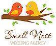 Cute Logowith Birds Couple On The Tree. Logo For Wedding Photographer, Planner, Blog, Restaurante. Cute Logo With Birds