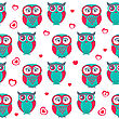 Cute Owls Seamless Pattern. Vector Illustration. Can Be Used For Web, Paper, Wrap, Wallpaper, Textile And Other Design. Valentine`s Background