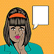Cute Retro Black Woman In Comics Style, Vector Illustration
