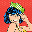 Cute Retro Woman In Comics Style, Vector Illustration stock illustration