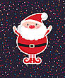 Cute Santa Claus On Dark Christmas Ornament Background With Confetti