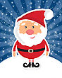 Cute Santa Claus On White Christmas Background With Lights And Snowflakes. Christmas Card, Poster, Web Design