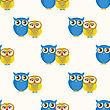 Cute Seamless Pattern With Owls Couple. Blue And Yellow Owls. Vector Illistration