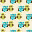 Cute Seamless Pattern With Owls Couple. Blue And Green Owls. Vector Illistration