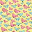 Cute Seamless Pattern With Doodle Birds