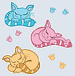 Cute Sleeping Cats. Vector Illustration