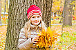 Six Cute Smiling Girl In Autumn stock photography