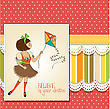 Cute Teens Who Are Playing With A Kite, Vector Illustration