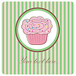 Cute Vector Background With Small Cupcake stock illustration