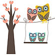 Brother Cute Vector Illustration Of An Owl Family Sitting In The Tree stock vector