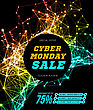 Cyber Monday Sale. Vector Illustration On Black Background