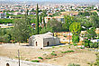 Cyprus Rural Landscape With Old Church, Houses And Gardens