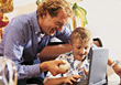 Families Lifestyle Dad Helping Son with Homework stock photography