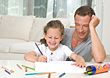 Dad Sitting with Daughter Coloring stock photo