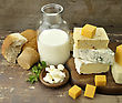Dairy Products On Wooden Background stock photography