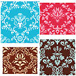 Revival Damask Seamless Backgrounds Set stock vector