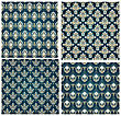 Damask Seamless Vector Pattern Set. Elegant Design In Royal Baroque Style Background Texture. Floral And Swirl Elements. Ideal For Textile Print And Wallpapers. Vector Illustration