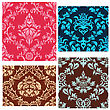 Damask Seamless Vector Patterns Set