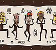 Dancing Figures Wearing African Masks. Primitive Art. Seamless Vector Illustration
