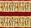 Dancing Figures Wearing African Masks, Primitive Art, Seamless
