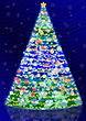 Dark Blue Background And Shining Christmas Tree