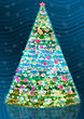 Childlike Dark Blue Background And Shining Christmas Tree stock image