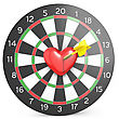 Dart Hit The Heart In The Center Of Datrboad Frontal View stock image