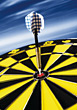 Dart in Center of Dart Board stock photography
