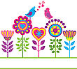 Decorative Colorful Funny Vector Background With Flowers And Birds