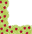 Decorative Corner Element With Red Apples On Green Leaves stock vector