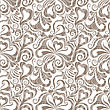 Decorative Curly Seamless Background With Flowers And Hearts. EPS10.