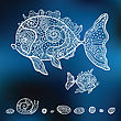 Decorative Fishes. Hand Drawn Illustration. Vector Set
